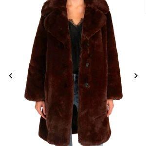 The Kooples Long Oversized Faux Fur Coat